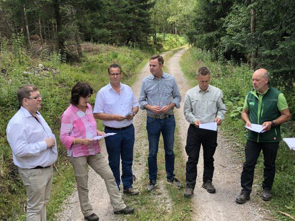 Mit Minister Peter Hauk MdL Zustand des Waldes begutachtet
